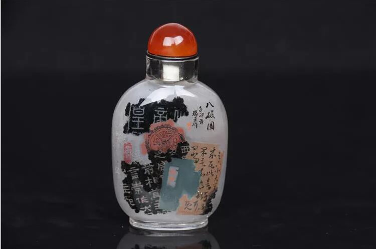 天然水晶内画鼻烟壶:八