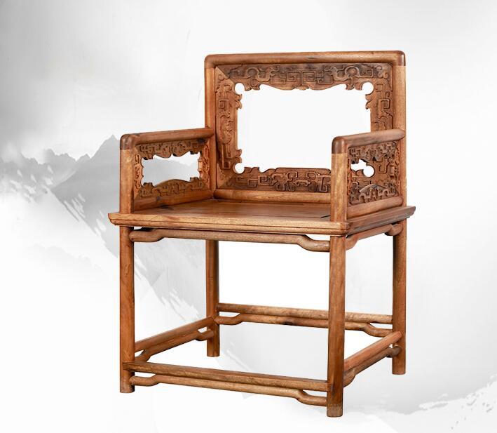 金丝楠木玫瑰椅三件套
