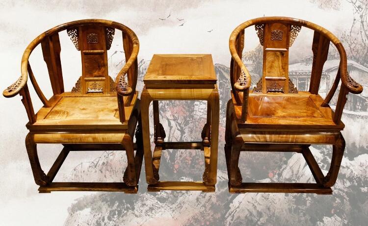 金丝楠木圈椅三件套