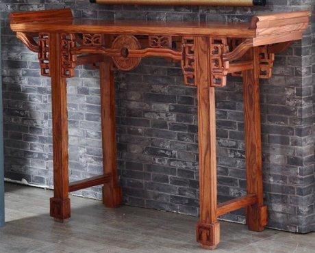 中式实木家具,花梨木色条案桌翘