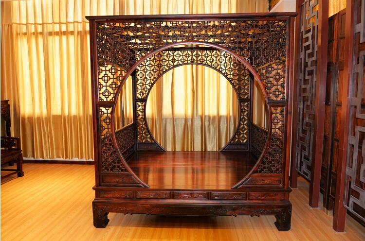 老挝红酸枝古典月牙床