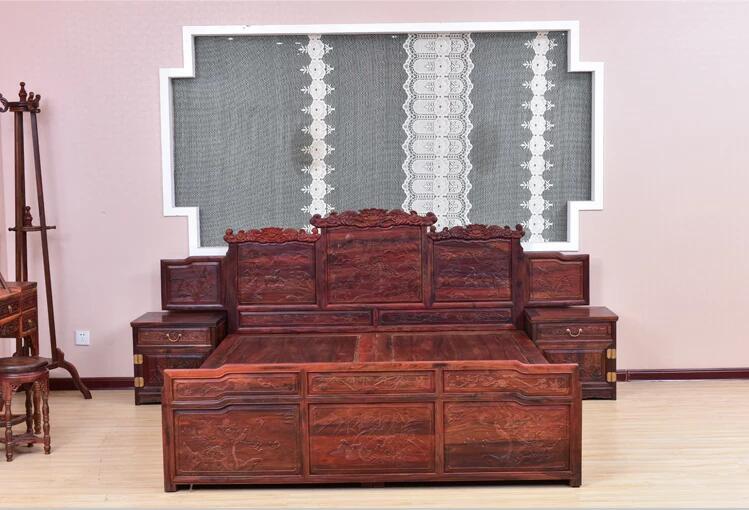 老挝大红酸枝床中式双人床