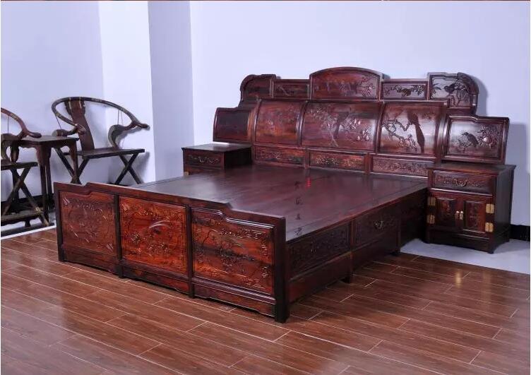 老挝大红酸枝双人床