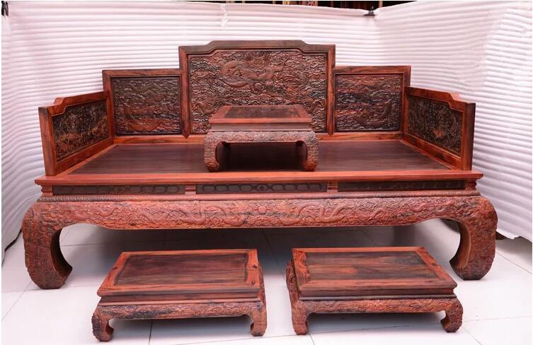 老挝大红酸枝明清古典双人床