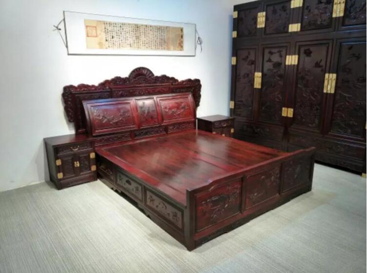 赞比亚血檀雕龙顶箱柜紫檀大床