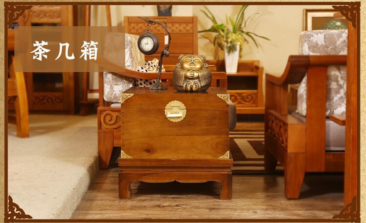 仿古中式正方形樟木箱子