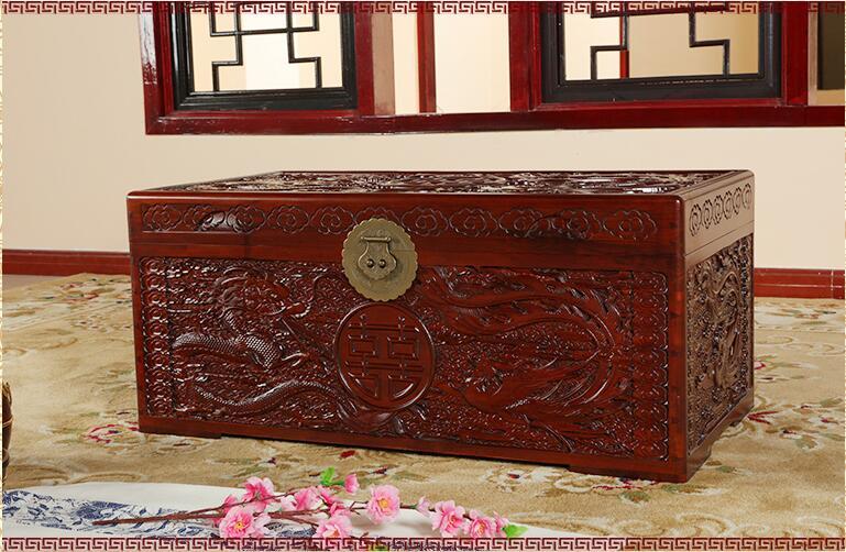 中式龙凤香樟木箱满雕花婚嫁箱