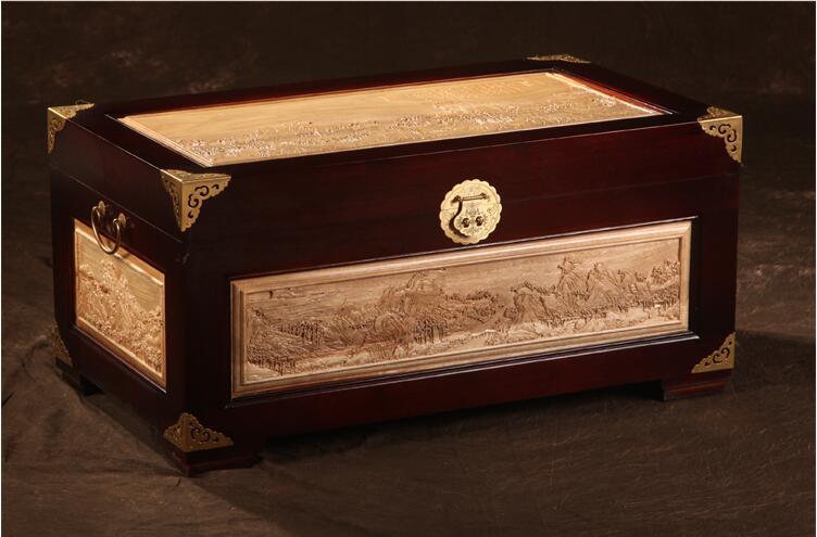 仿古中式香樟木箱子字画