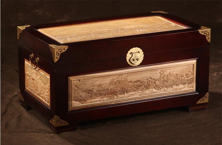 仿古中式香樟木箱子字画箱
