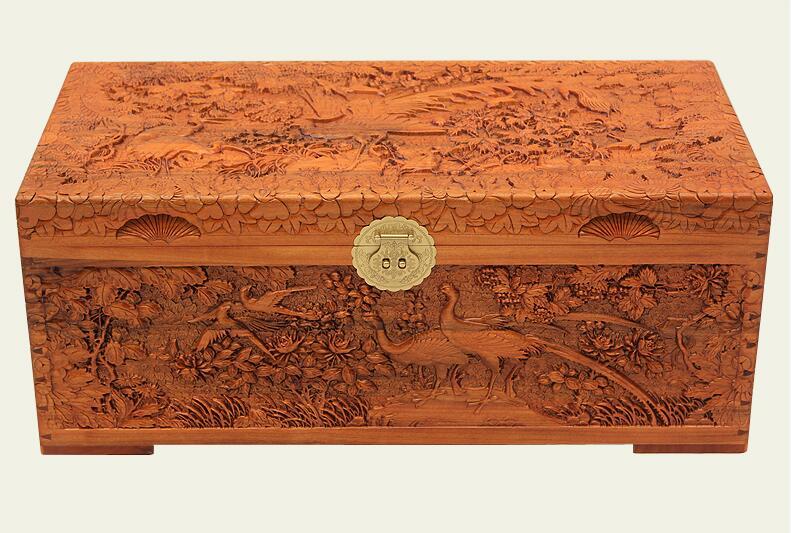 中式复古香樟木箱子婚嫁木箱