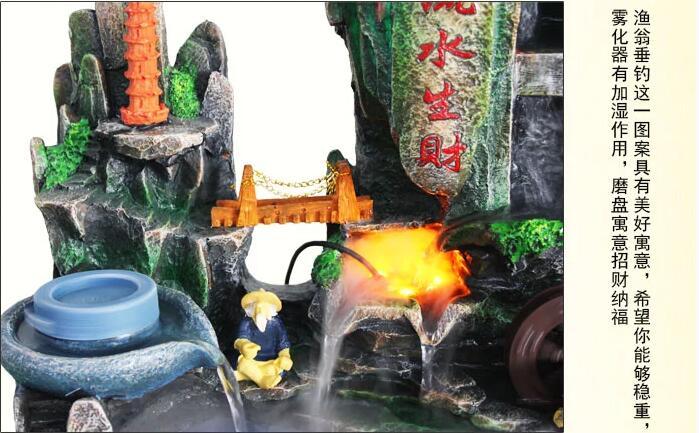 假山流水喷泉鱼池风水轮