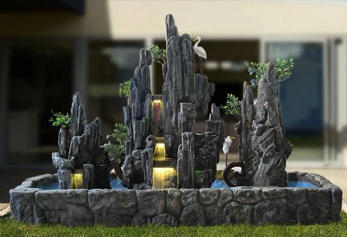 流水喷泉大型落地假山水景,假山水景设计