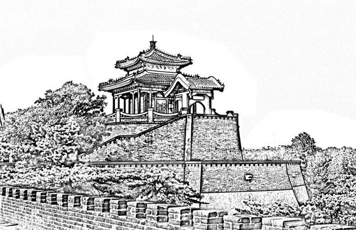 中国风手绘丛台亭台楼阁