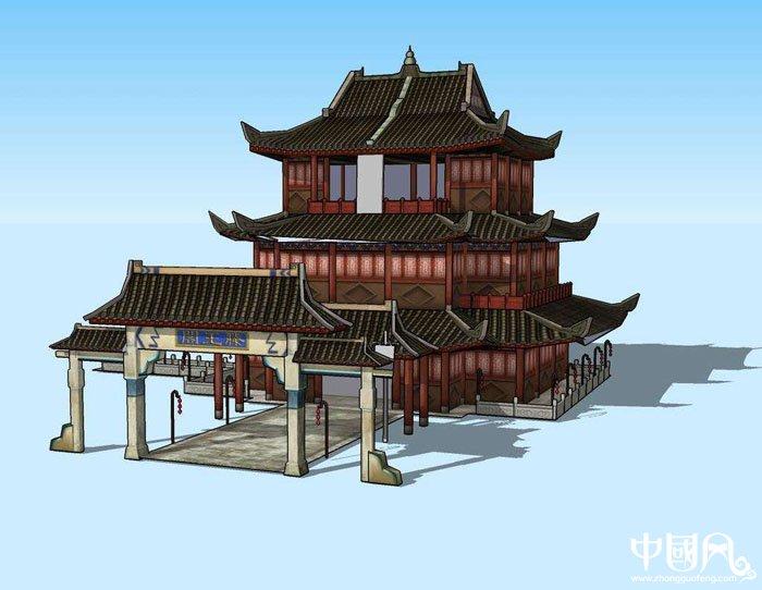 中国风滕王阁亭台楼阁模型