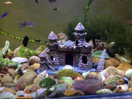 城堡别墅鱼缸造景摆件,