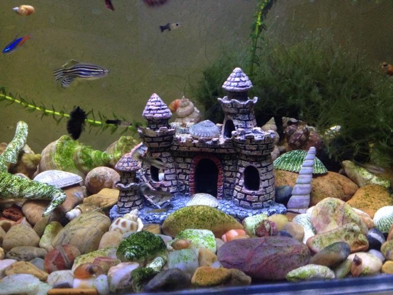 城堡别墅鱼缸造景摆件,树脂工艺品