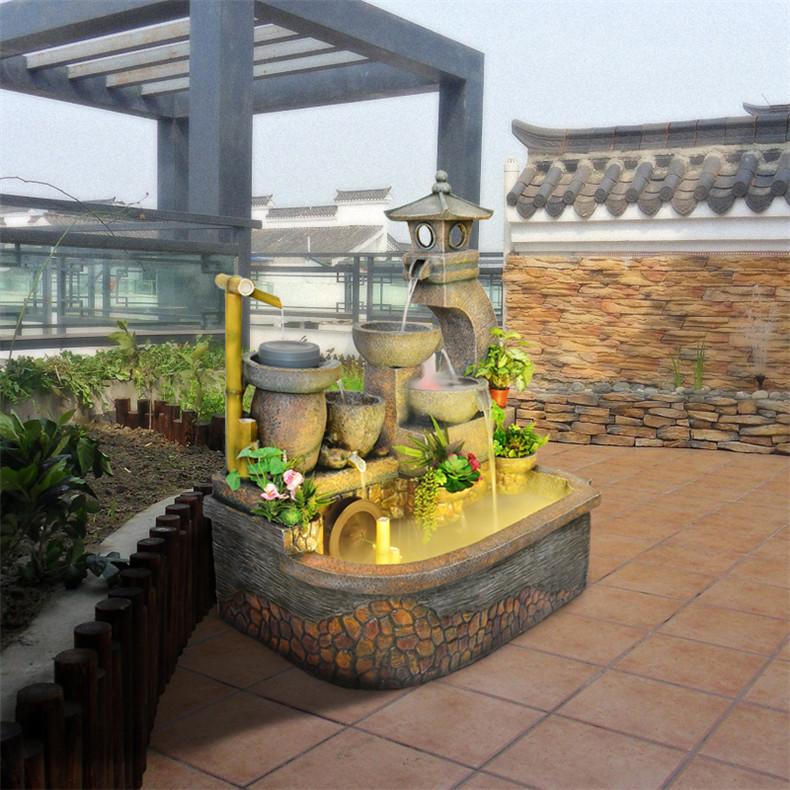 风水轮假山水景落地阳台鱼流水加湿器喷泉池摆