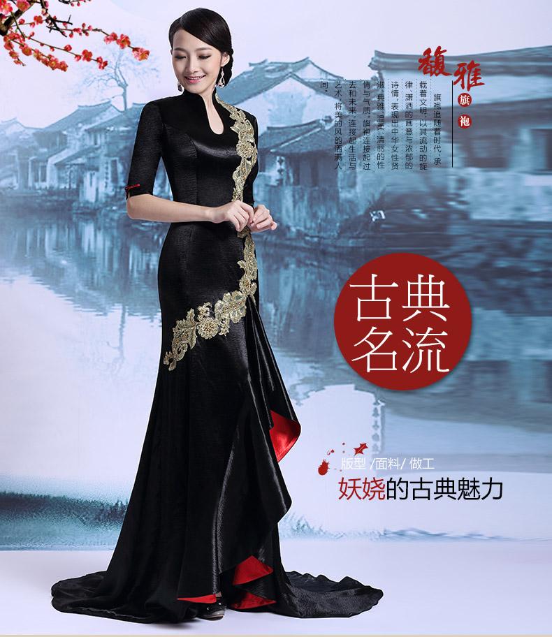前短后长旗袍改良演出旗袍连衣裙长裙