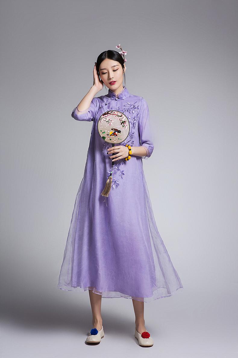 复古刺绣真丝欧根纱改良旗袍