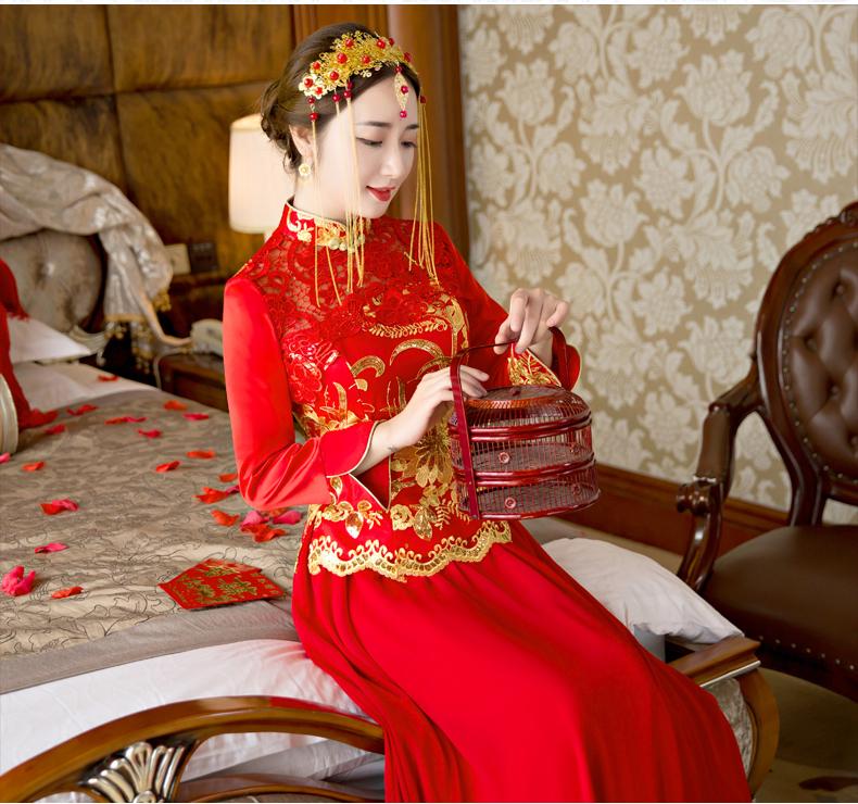 中式婚纱礼服敬酒服