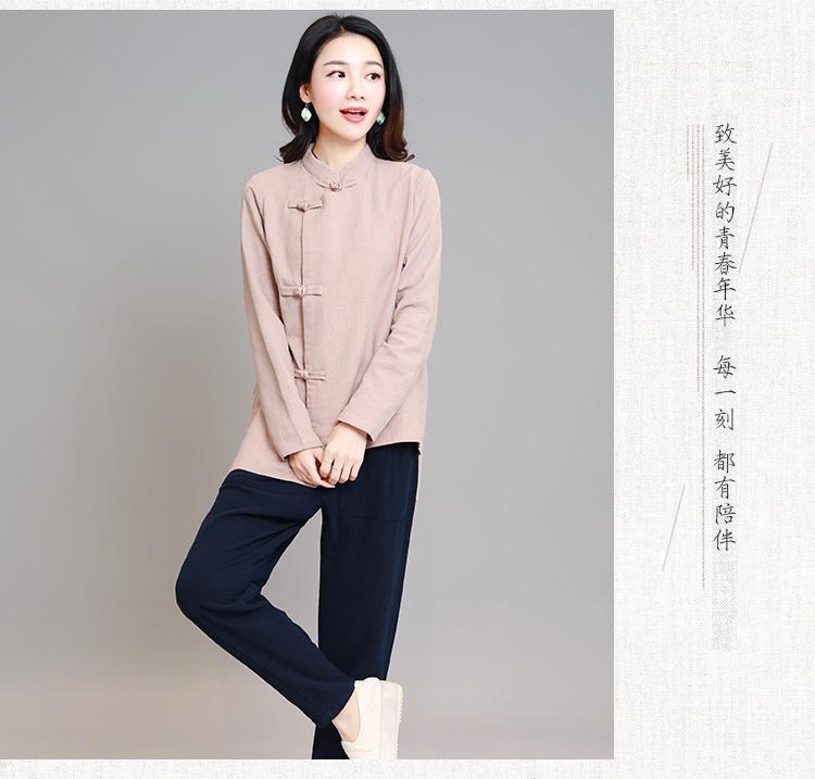 时尚棉麻中山装长袖斜扣
