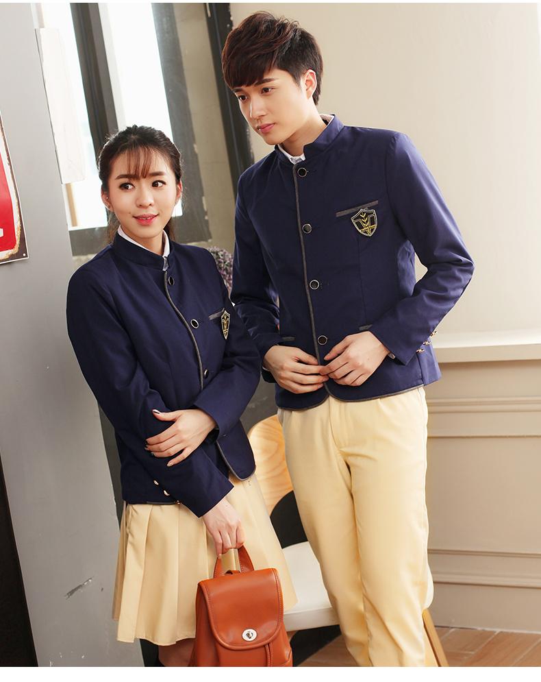 中山装立领韩版潮修身学生校服毕业表演服