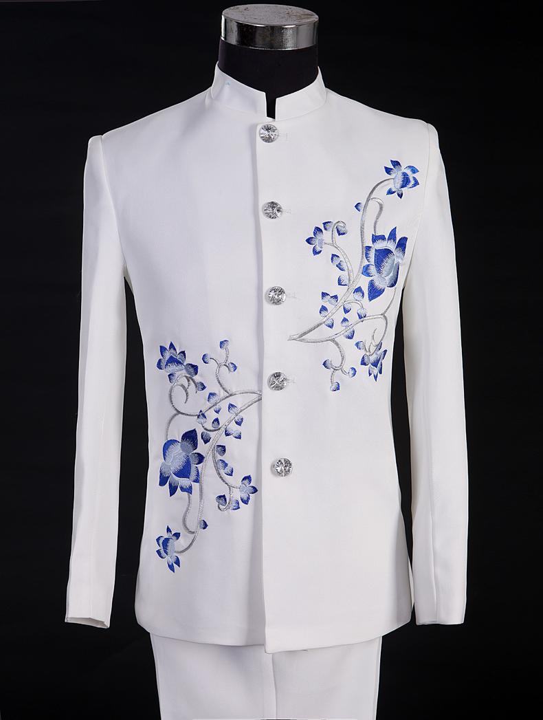 司仪青花瓷白色中山装大合唱服装套装