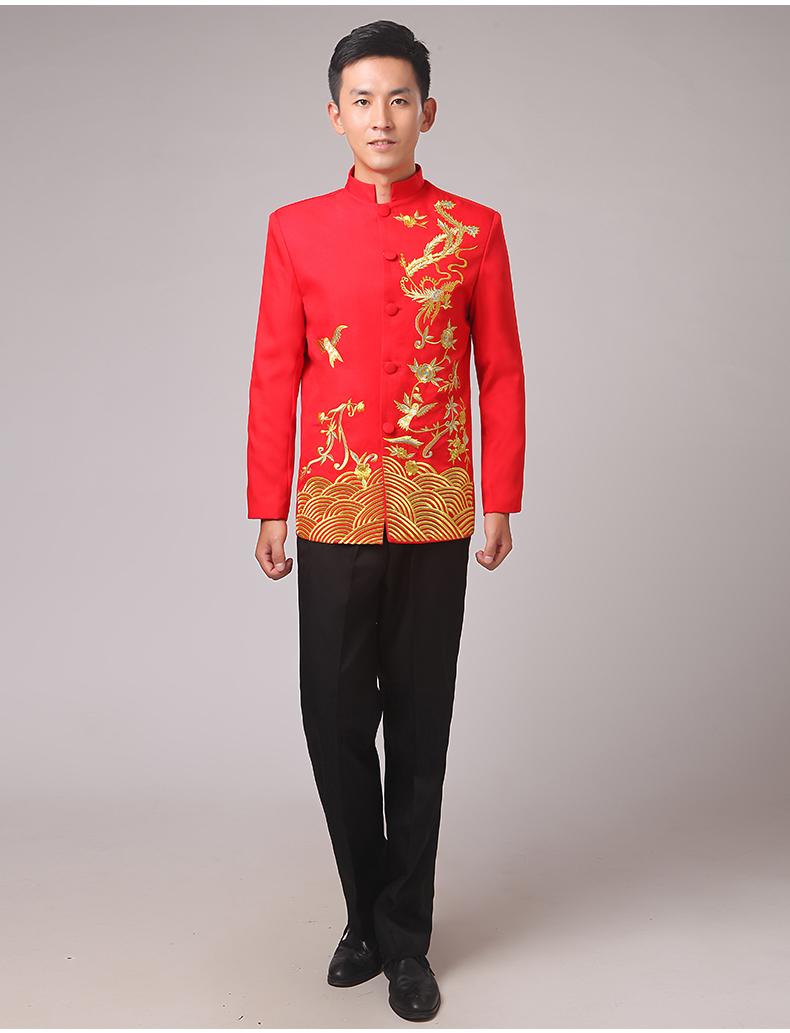 中国风刺绣立领中山装演出服