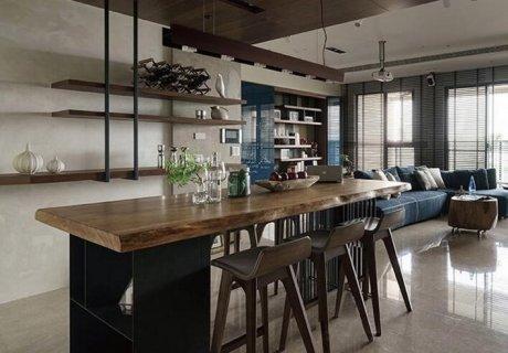 复古工业风北欧实木铁艺餐桌