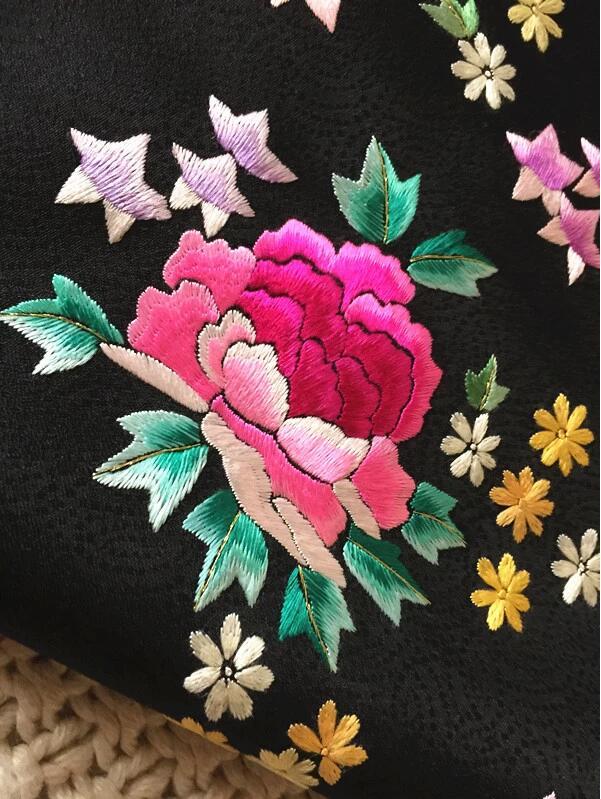 传统黑色真丝手工刺绣提花布