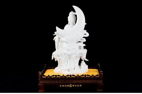 德化白瓷13.8寸水月观音佛像陶瓷