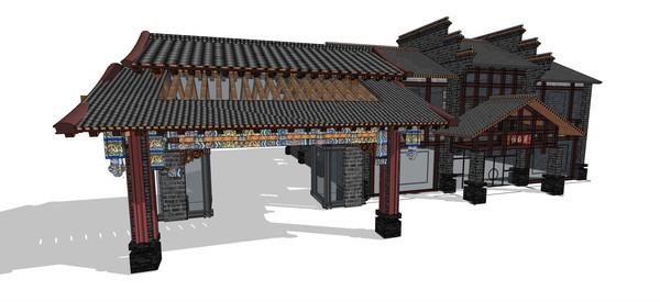 古建筑茶馆中式大门