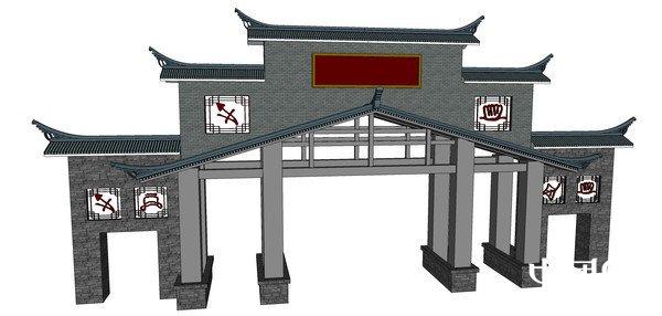 古典文化符号中式大门