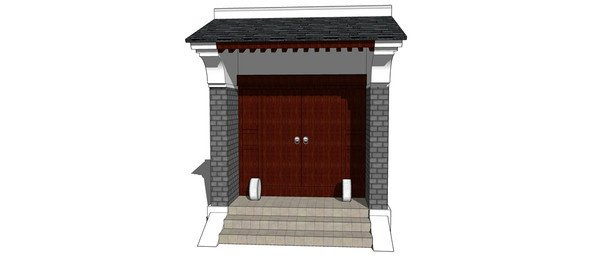 中式院落大门模型