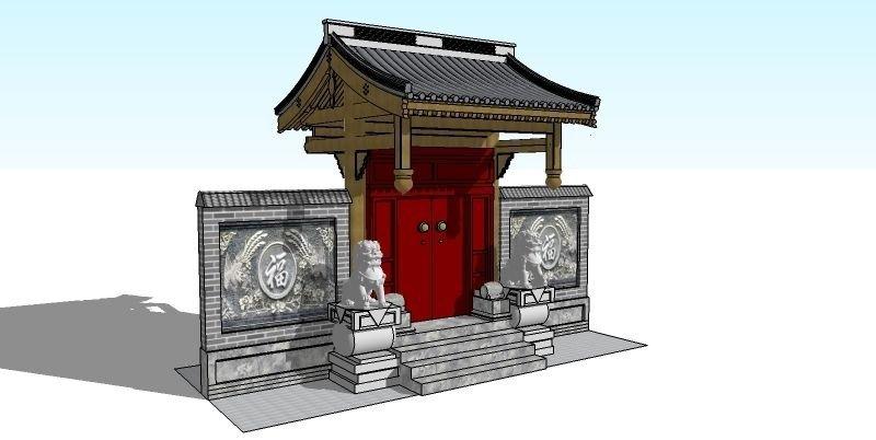 中式垂花大门模型