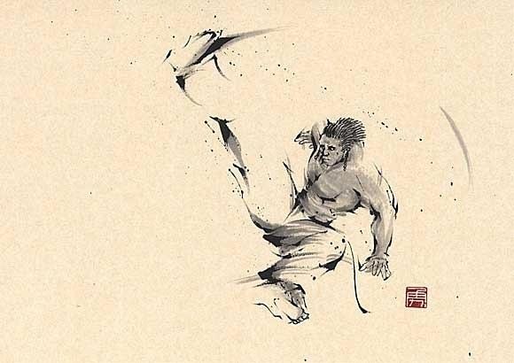日本勝亦勇水墨功夫中华武术插画(八)