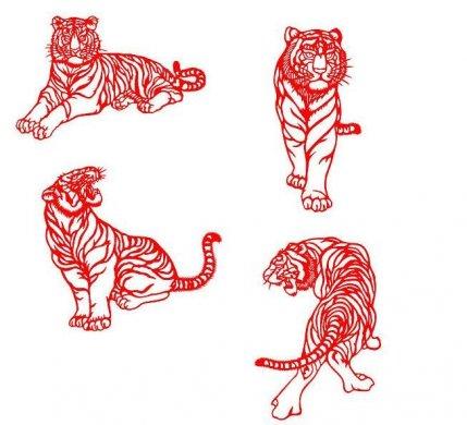 老虎剪纸psd素材