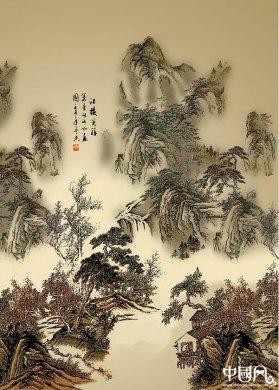 中国风写意山水国画PSD分层素材