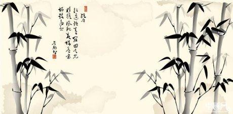 中国风水墨竹psd素材