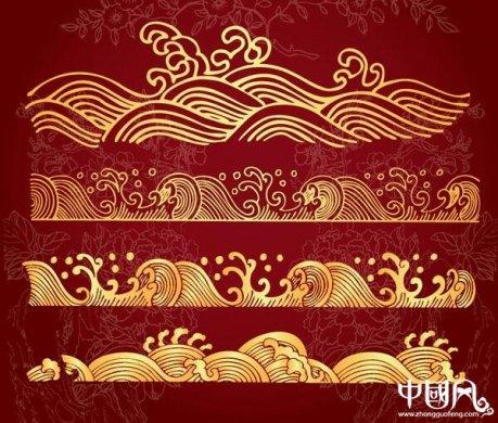 中国风金色海浪花纹ai图片