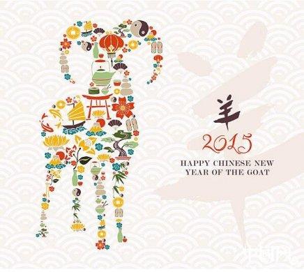 中国风元素创意羊ai图片