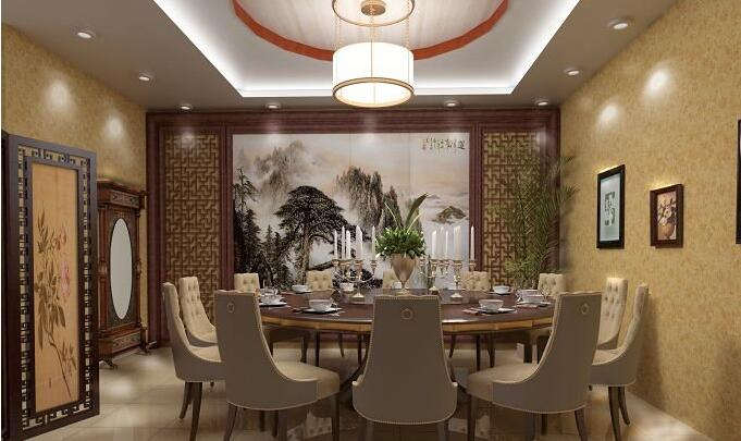中式酒店餐厅装修设计图cad图库