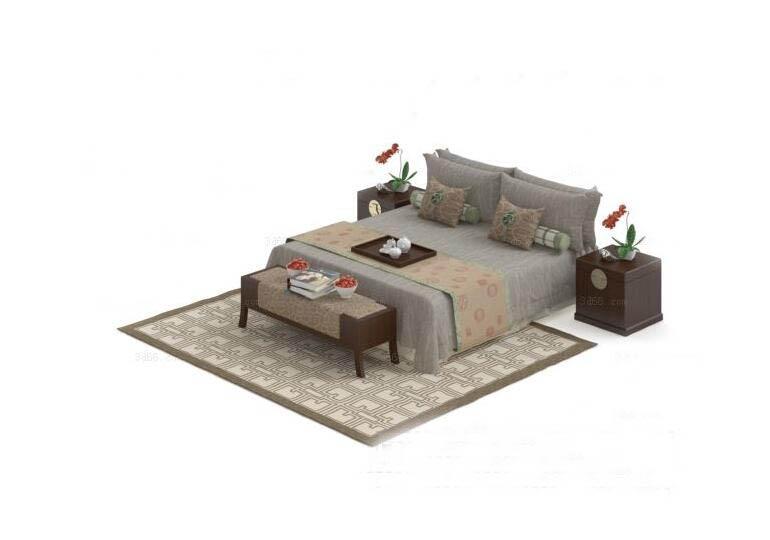 中式床3D模型下载