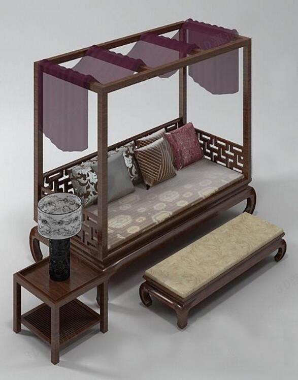 中式罗汉床3D模型下载