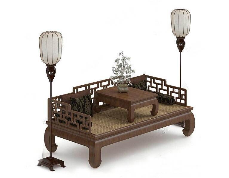 中式家具罗汉床3D模型