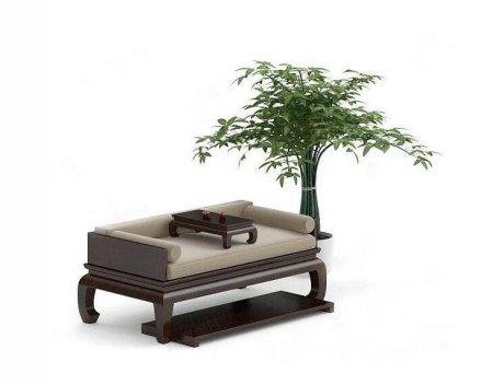 中式家具罗汉床3D模型下载