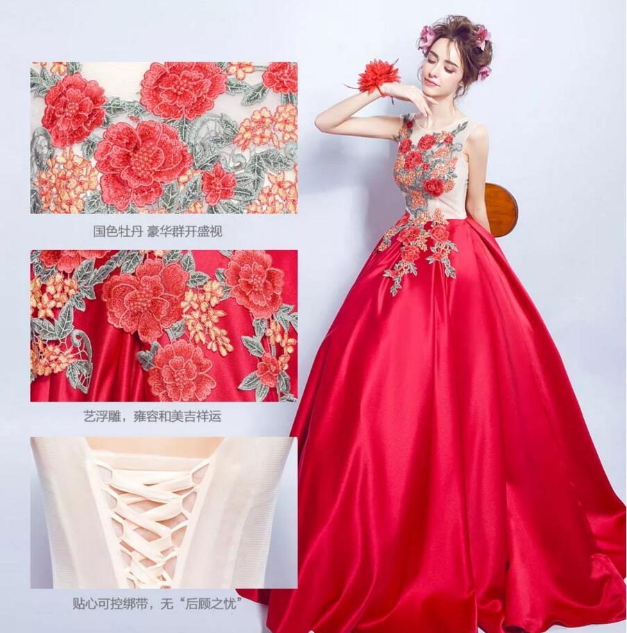 牡丹刺绣中式婚纱礼服