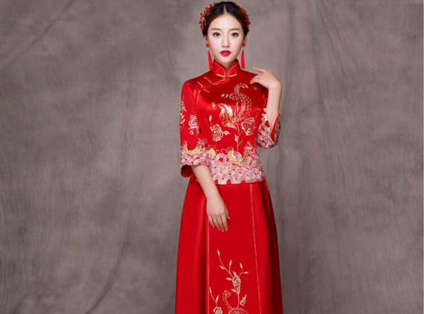 京式包边手工盘扣中式旗袍礼服