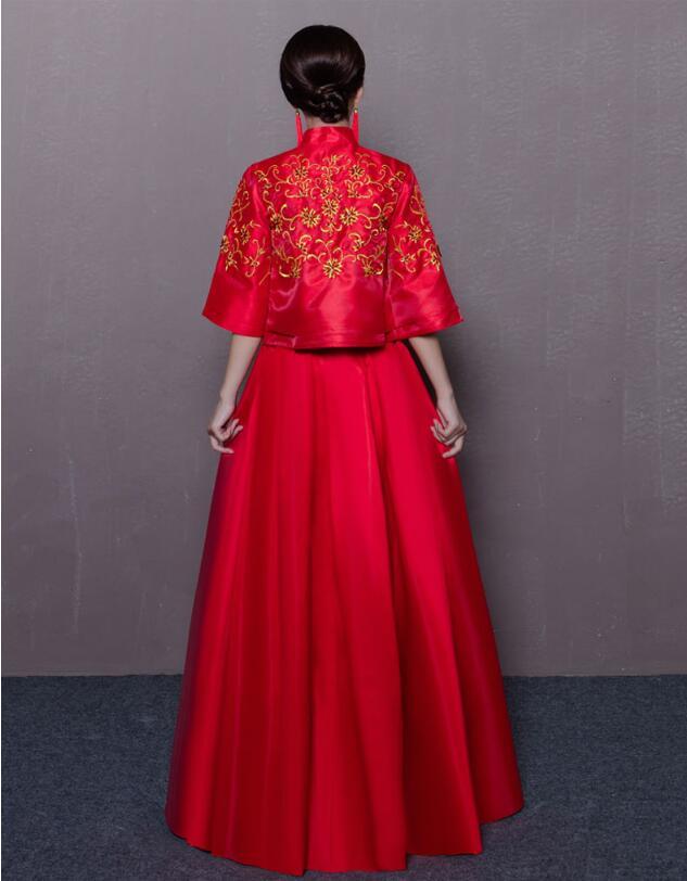 复古立领旗袍龙凤褂中式婚纱礼服