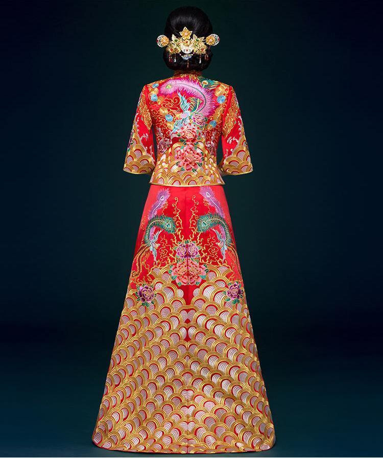 中国风刺绣锦缎复古嫁衣中式礼服